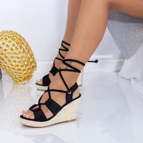 Sandale Dama cu Platforma LE225 Negru Mei