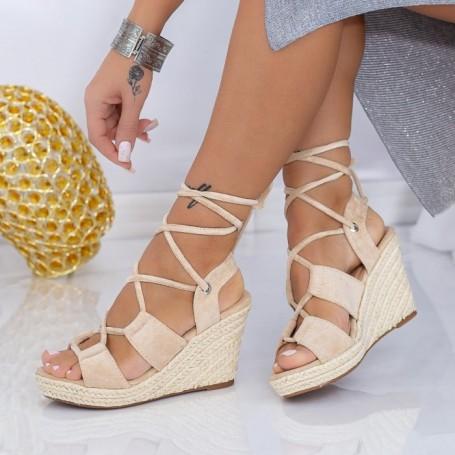 Sandale Dama cu Platforma LE225 Bej Mei