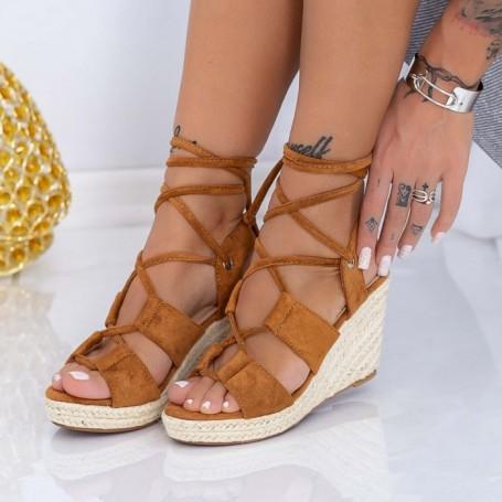 Sandale Dama cu Platforma LE225 Maro deschis Mei