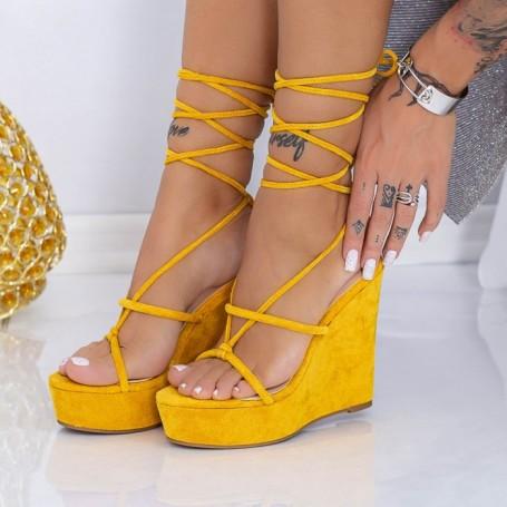 Sandale Dama cu Platforma XKK290 Galben Mei