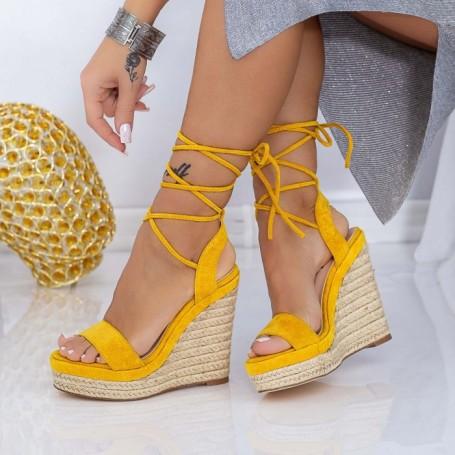 Sandale Dama cu Platforma XKK302 Galben Mei