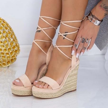 Sandale Dama cu Platforma XKK302 Bej Mei