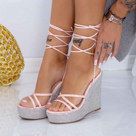 Sandale Dama cu Platforma XKK305 Roz Mei