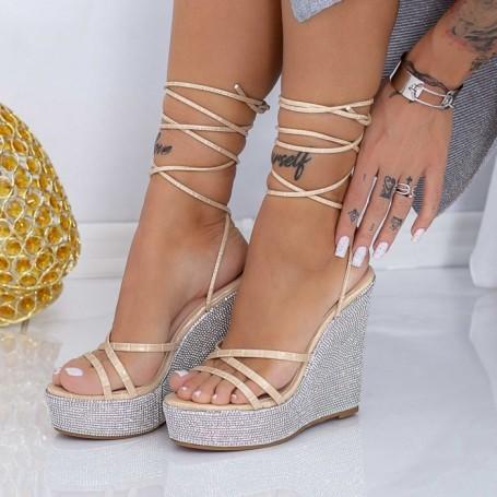 Sandale Dama cu Platforma XKK305 Bej Mei