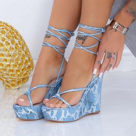 Sandale Dama cu Platforma XKK306 Albastru Mei