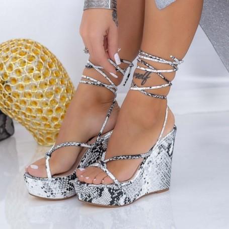 Sandale Dama cu Platforma XKK306 Gri Mei