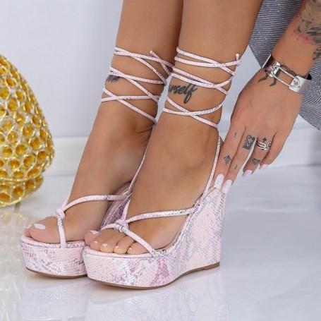 Sandale Dama cu Platforma XKK306 Roz Mei