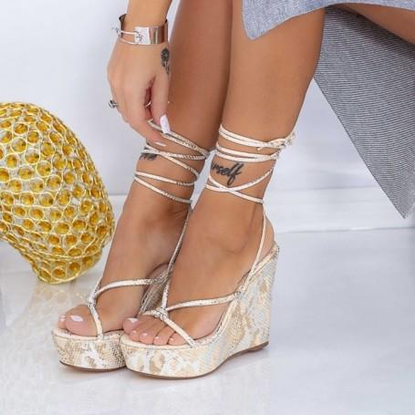 Sandale Dama cu Platforma XKK306 Bej Mei
