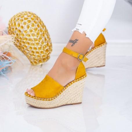 Sandale Dama cu Platforma FS12 Galben Mei
