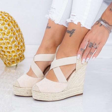 Sandale Dama cu Platforma LE213 Bej Mei