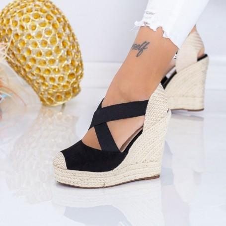 Sandale Dama cu Platforma LE213 Negru Mei