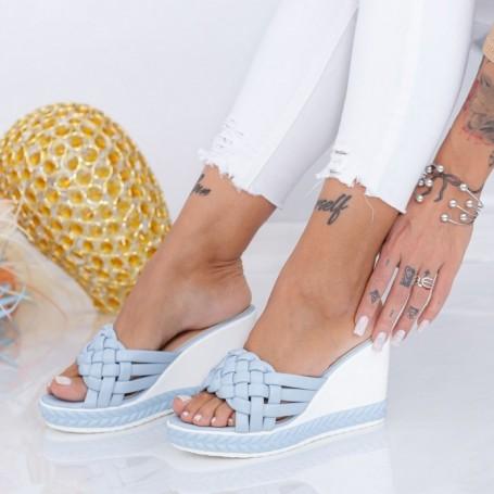 Papuci Dama cu Platforma LM328 Albastru Mei
