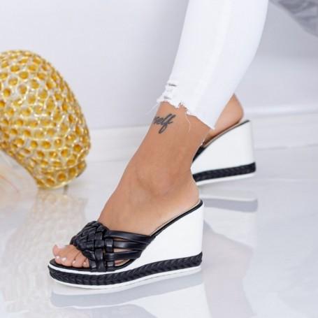 Papuci Dama cu Platforma LM328 Negru Mei