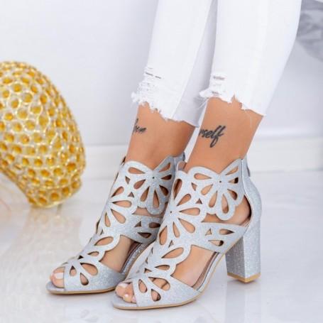 Sandale Dama cu Toc gros TY3A Argintiu Mei