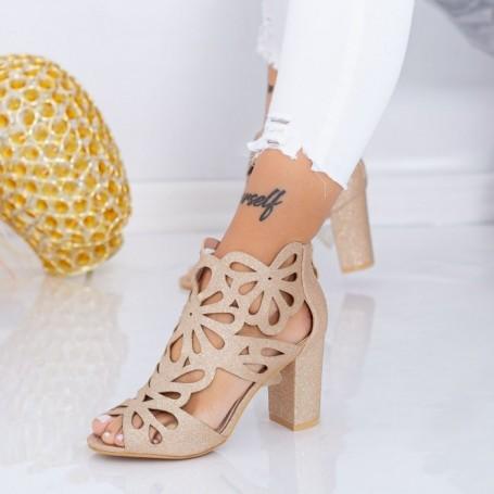 Sandale Dama cu Toc gros TY3A Champagne Mei