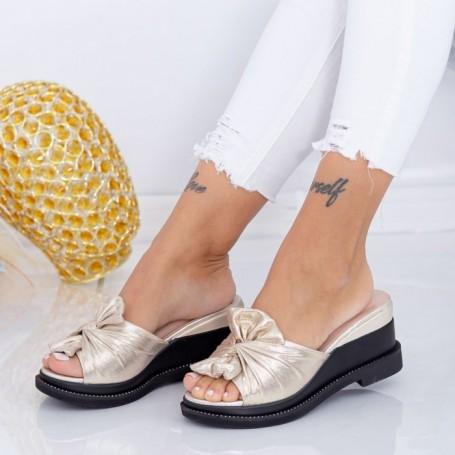 Papuci Dama cu Platforma WEN2 Auriu Mei