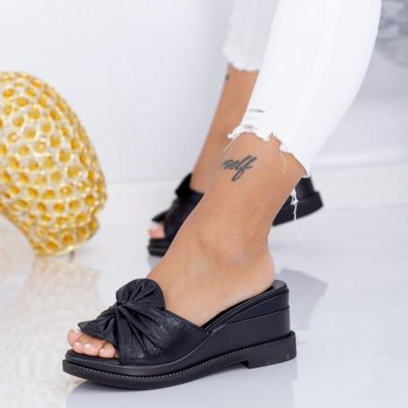 Papuci Dama cu Platforma WEN2 Negru Mei