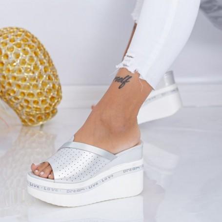 Papuci Dama cu Platforma WEN5 Argintiu Mei