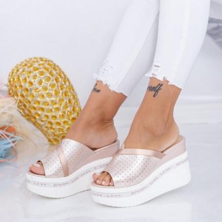 Papuci Dama cu Platforma WEN5 Champagne Mei