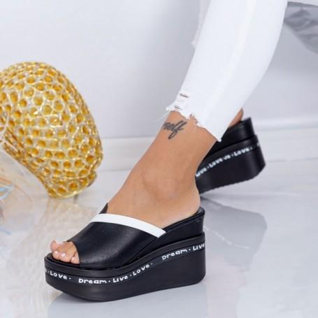 Papuci Dama cu Platforma WEN5 Negru Mei