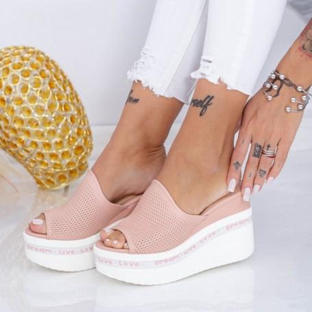 Papuci Dama cu Platforma WEN6 Roz Mei