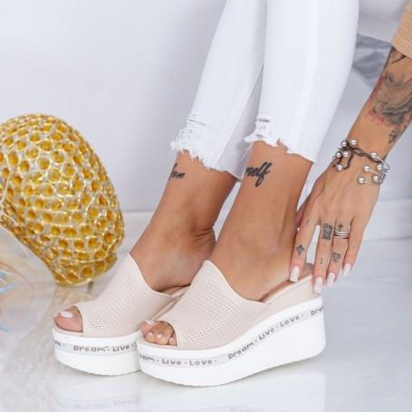 Papuci Dama cu Platforma WEN6 Bej Mei