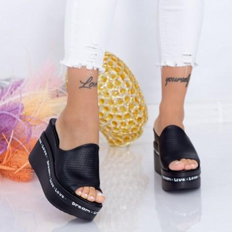 Papuci Dama cu Platforma WEN6 Negru Mei