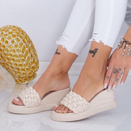 Papuci Dama cu Platforma WEN7 Bej Mei