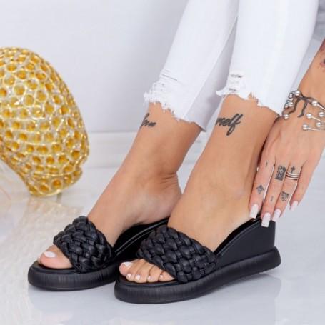 Papuci Dama cu Platforma WEN7 Negru Mei