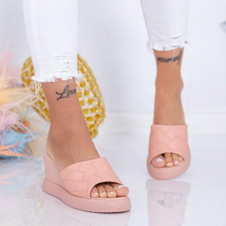 Papuci Dama cu Platforma WEN8 Roz Mei