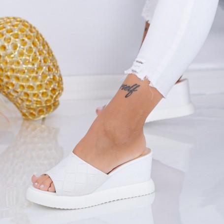 Papuci Dama cu Platforma WEN8 Alb Mei