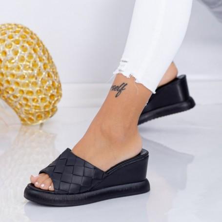 Papuci Dama cu Platforma WEN8 Negru Mei