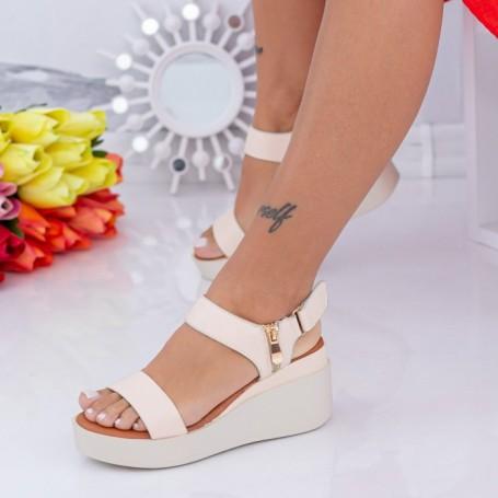 Sandale Dama cu Platforma QZL226 Bej Mei