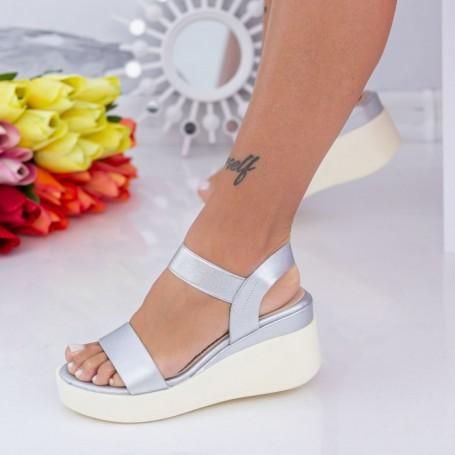 Sandale Dama cu Platforma QZL263 Argintiu Mei