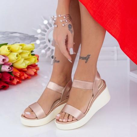 Sandale Dama cu Platforma QZL263 Champagne Mei