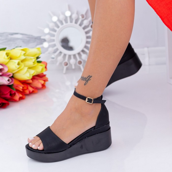 Sandale Dama cu Platforma QZL265 Negru Mei