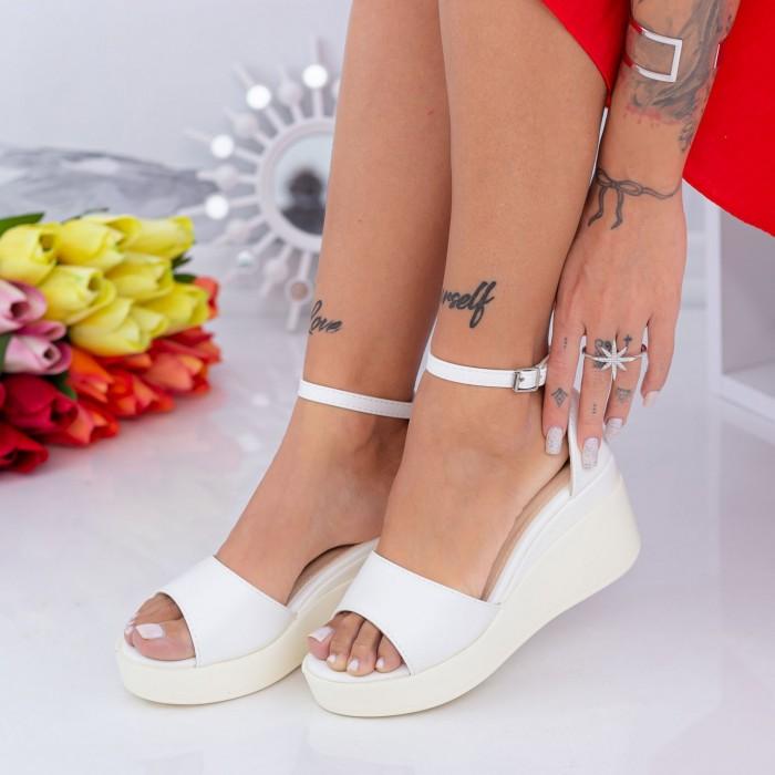 Sandale Dama cu Platforma QZL265 Alb Mei