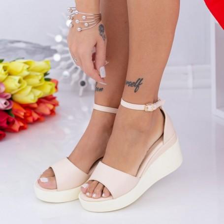 Sandale Dama cu Platforma QZL265 Bej Mei