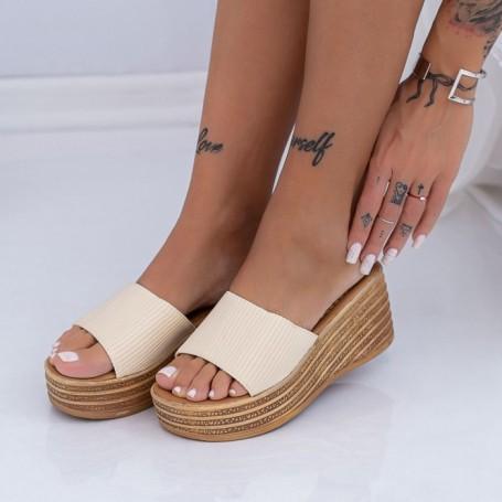 Papuci Dama cu Platforma XN35 Bej Mei