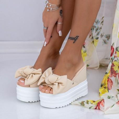 Papuci Dama cu Platforma XN36 Bej Mei