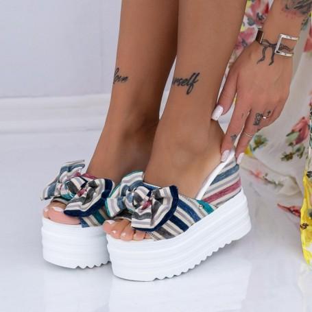 Papuci Dama cu Platforma XN36 Albastru Mei