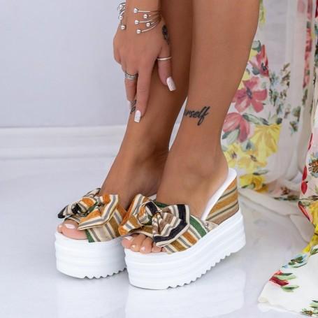 Papuci Dama cu Platforma XN36 Galben Mei