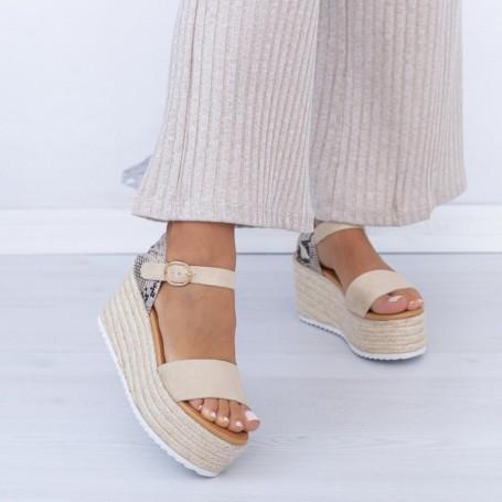 Sandale Dama cu Platforma FS51 Bej Mei