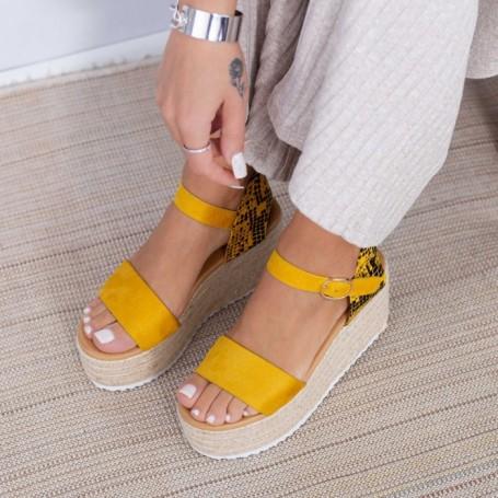 Sandale Dama cu Platforma FS51 Galben Mei