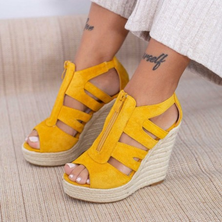 Sandale Dama cu Platforma HXS19 Galben Mei