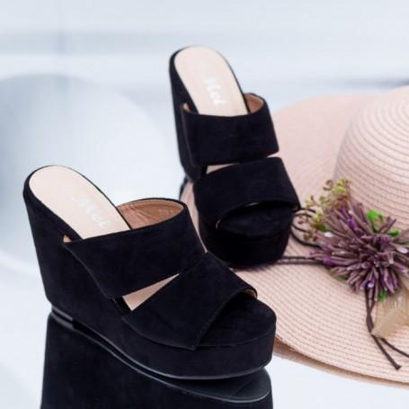 Papuci Dama cu Platforma FS39 Negru Mei