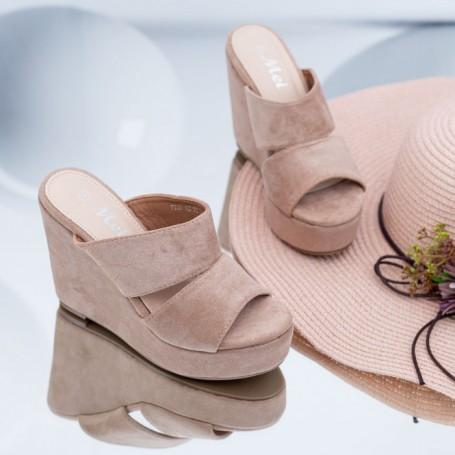 Papuci Dama cu Platforma FS39 Bej Mei