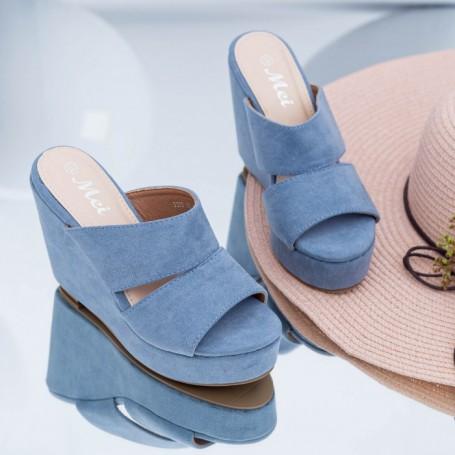 Papuci Dama cu Platforma FS39 Albastru Mei