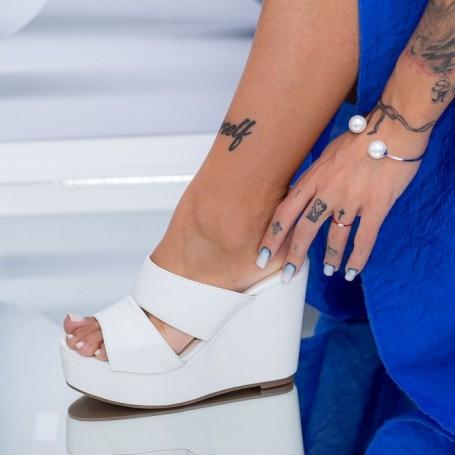 Papuci Dama cu Platforma FS39 Alb Mei