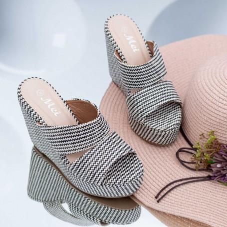 Papuci Dama cu Platforma FS39 Negru-Alb Mei